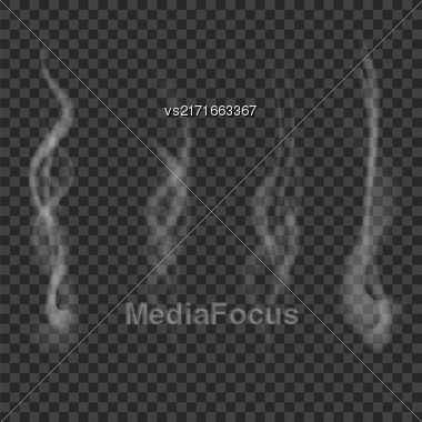 Transparent Smoke Set Isolated On Dark Chekered Background Stock Photo