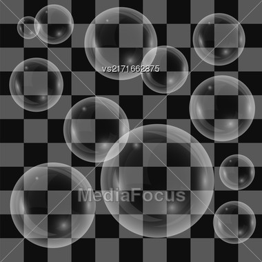 Transparent Soap Bubbles Isolated On Checkered Background Stock Photo