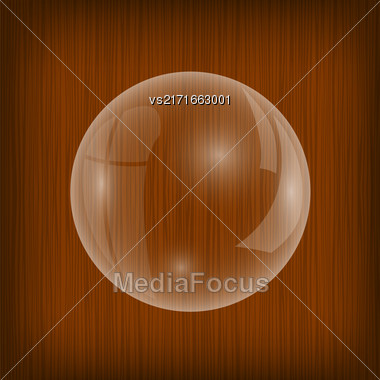 Transparent Soap Water Bubbles Isolated On Wood Background Stock Photo