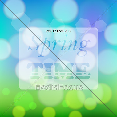 Transparent Spring Time Banner On Colorful Blurred Background Stock Photo