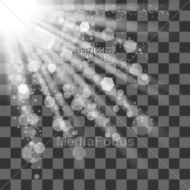 Transparent Sun Light On Checkered Background. Shiny Sunburst Of Sunbeams Stock Photo