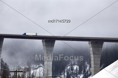 Transport Truck On Bridge In Winter Canada Stock Photo