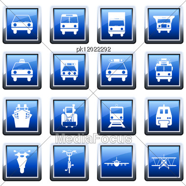 Transportation Set Of Different Vector Web Icons Stock Photo