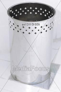 Trash Basket . Isolated Over White Background Stock Photo