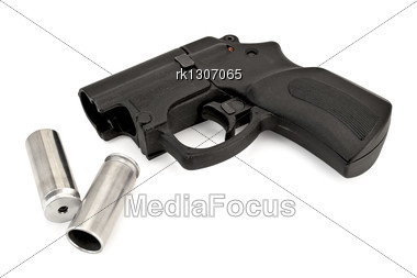 Traumatic Pistol With Two Cartridges Stock Photo