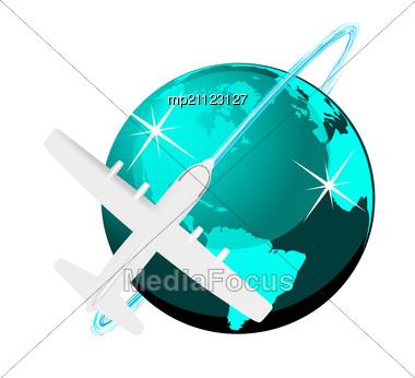 Plane  on Plane Map   Image Mp21123127   Travel Illustration Plane Stock