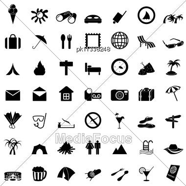 Travel Set Of Different Vector Web Icons Stock Photo