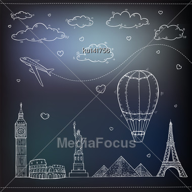 Travel And Tourism Background. Vector Hand Drawn Illustration Stock Photo