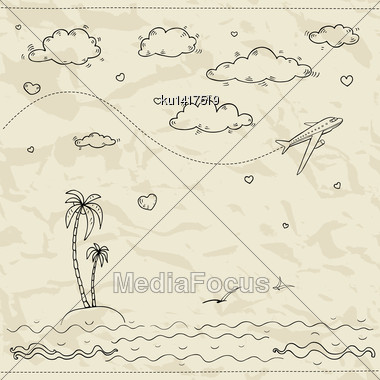 Travel And Tourism Labels Collection. Vector Hand Drawn Illustration Stock Photo