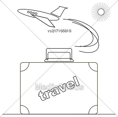 Travel Or Vacation Linear Icon Isolated On White Background Stock Photo