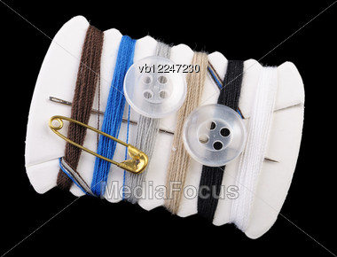Traveling Sewing Kit, Isolated On Black Background. Stock Photo
