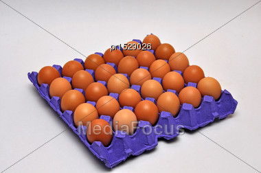 Tray Of Chicken Eggs On A Seamless Background Stock Photo