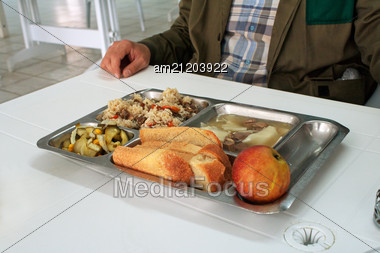 Tray Of Food In The Workers' Canteen. Close-up. Stock Photo