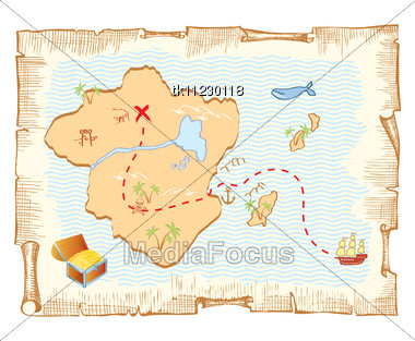 Treasure Map. Vector Old Paper Background Stock Photo