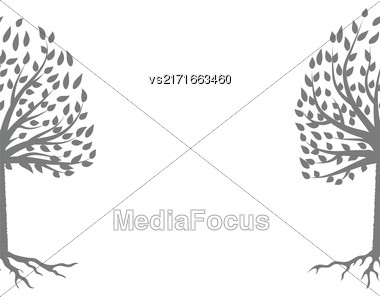 Tree Gray Silhouette Isolated On White Background Stock Photo