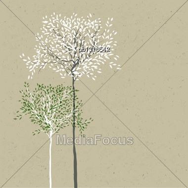 Trees Background. The Trunk And Leaves In Separate Layers. Vector Stock Photo