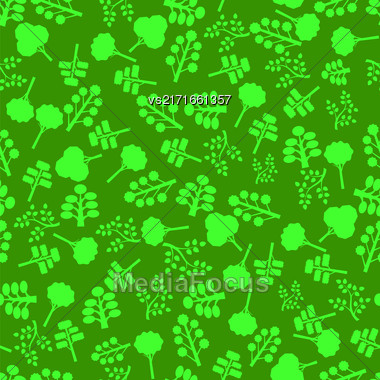 Trees Silhouettes Seamless Pattern On Green. Forest Background Stock Photo
