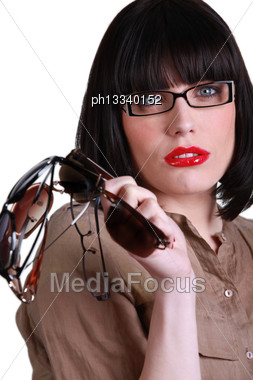 Trendy Young Brunette Stock Photo