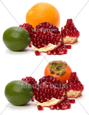 Tropical Fruits Isolated On White Background Stock Photo