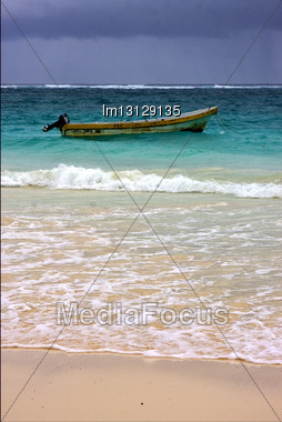 Tropical Lagoon Hill Navigable Froth Cloudy Motor Boat Boat And Coastline In Mexico Playa Del Carmen Stock Photo
