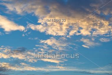 Tropical Orange Evening Dusk Sky Stock Photo
