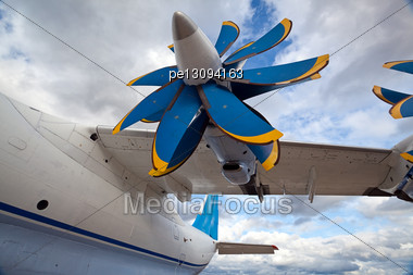 Turbopropellers Airplan AN-70 MAKS 2009 Russia Stock Photo
