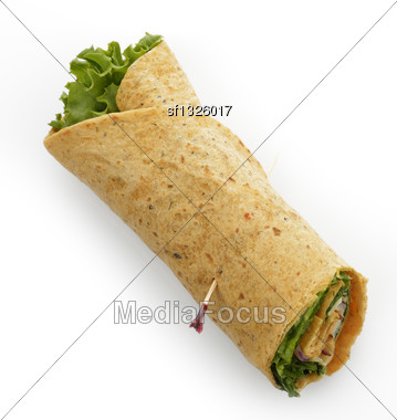 Turkey Wrap Sandwich With Bacon And Lettuce Stock Photo