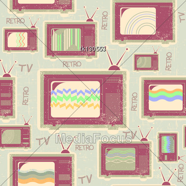 Tv Seamless Pattern.Vintage Background On Old Paper Stock Photo
