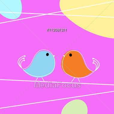 Tweet Doodle Birds On A Wire, Love Card Stock Photo