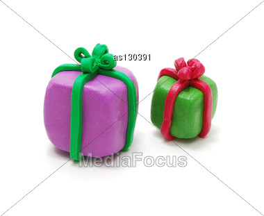 Two 3D Colored Christmas Gifts Made Of Plasticine Stock Photo