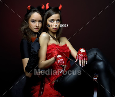 Two Beautiful Women In Fancy Dress Stock Photo