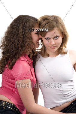 Two Beauty Young Women. Isolated. 3 Stock Photo