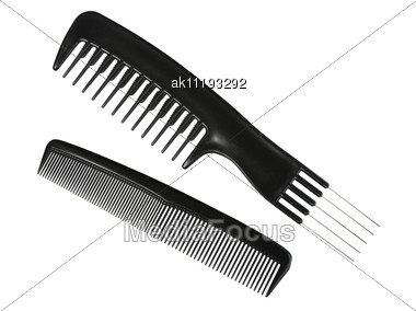 Two Black Professional Combs. Close-up Stock Photo
