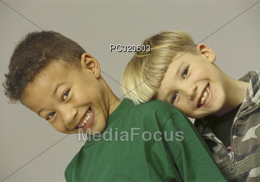 Two Boys Smiling Stock Photo