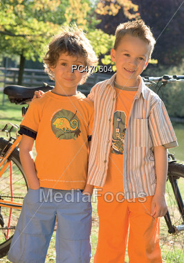 Two Brothers Outside Stock Photo