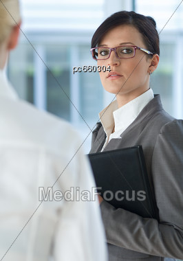 Two Business Women, Rivalry Stock Photo