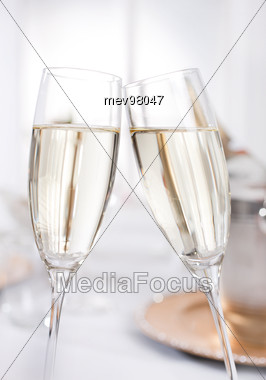 Two Champagne Glasses, Toast Stock Photo