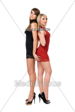 Two Charming Young Ladies. Stock Photo