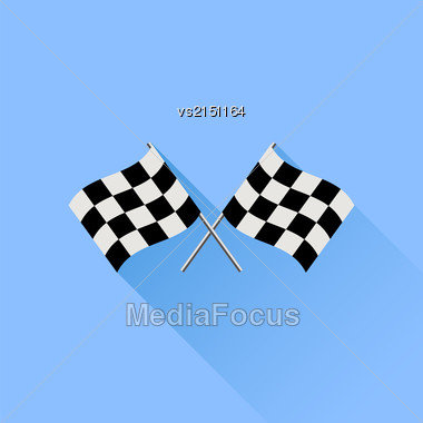 Two Checkered Flags Isolated On Blue Background Stock Photo