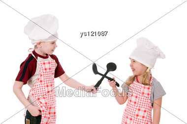 Two Children Dressed In Chef Stock Photo