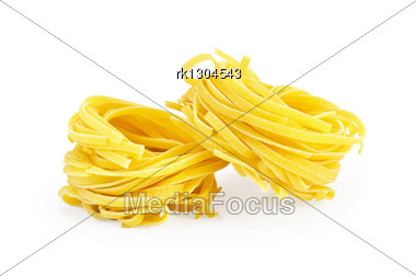 Two Circle Of Raw Twisted Noodles Stock Photo