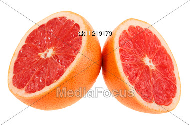 Two Cross Section Of Grapefruit Close-up Studio Photography Stock Photo