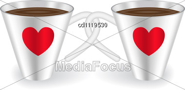 Two Cups With Intertwined Handles Decorated With Hearts Stock Photo