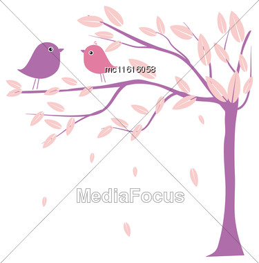 Two Cute Birds On The Tree Branches. Birds In Love. Vector Illustration For Wedding Invitation, Prints, Cards, Wallpapers And Textile Stock Photo