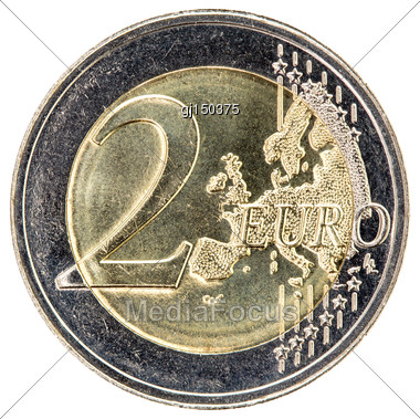 Two Euros Coin Isolated On White Background Stock Photo
