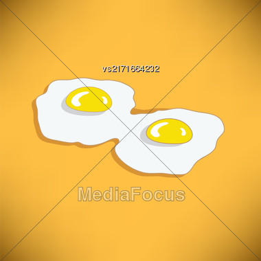 Two Fried Eggs On Orange Gradient Background. American Breakfast Stock Photo