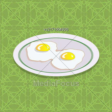 Two Fried Eggs On White Plate. Breakfast On Green Ornamental Tablecloth Stock Photo