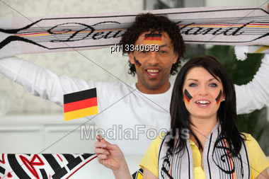 Two German Soccer Fans Stock Photo
