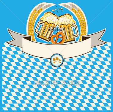 Two Glasses Of Beer On Bavaria Flag Background For Text Stock Photo