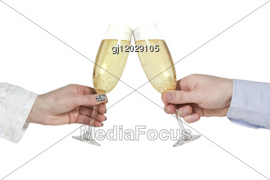 Two Hands With Champagne Glasses Stock Photo